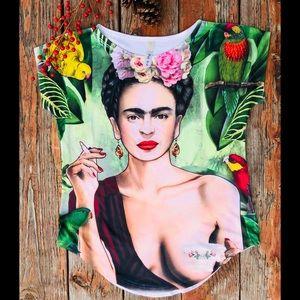 New beautiful Frida Kahlo stretchy cotton tee